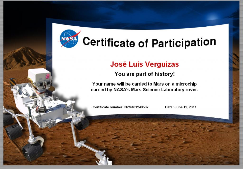 Certificado de Participación: Envía tu nombre a Marte