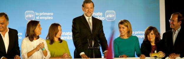 Rajoy botando en Génova