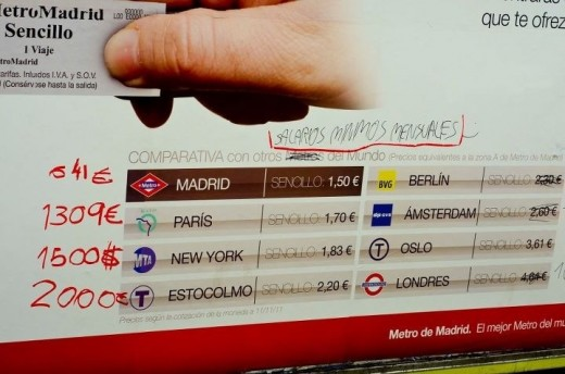 Campaa Metro de Madrid - Ms por Menos - Salarios mnimos